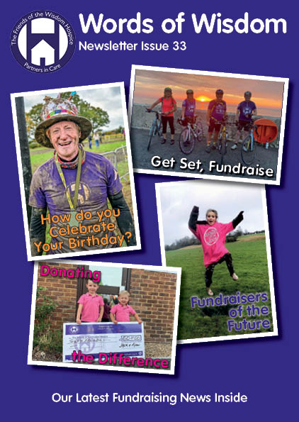 The front cover of this newsletter issue 33 of words of wisdom. Four images on a purple background. They are pictures of our fundraisers and relate to storied inside the issue.