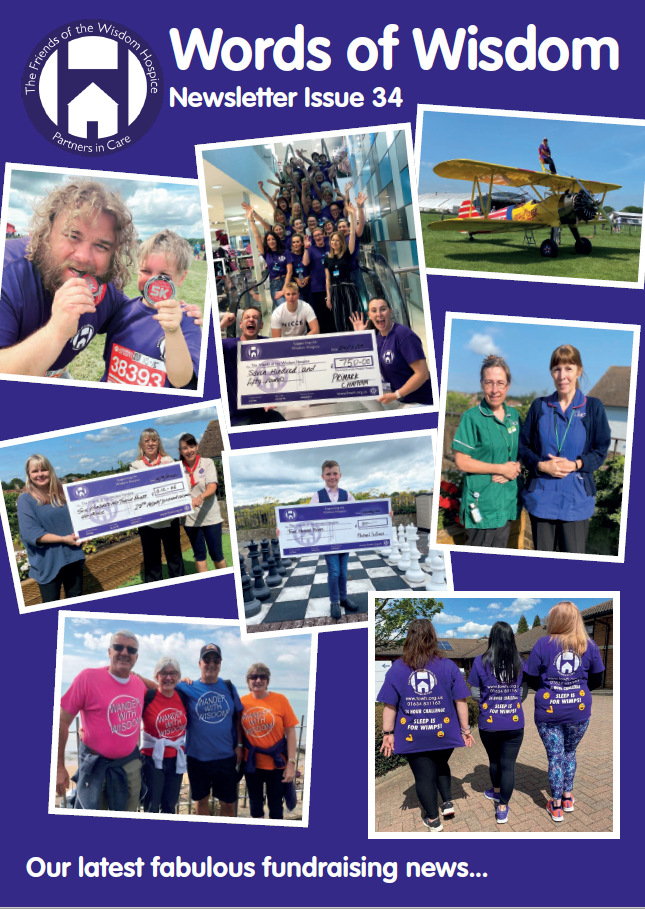 The front cover of this newsletter issue 34 of words of wisdom. Four images on a purple background. They are pictures of our fundraisers and relate to storied inside the issue.