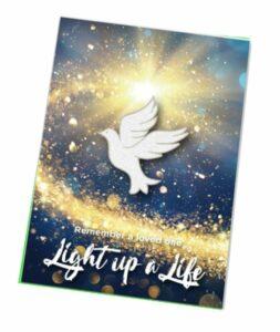 Christmas Badges 2021 Lights for love Glitter Dove Badge